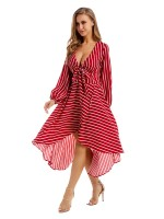 Well-Suited Red Maxi Dress Stripe Paint Deep-V Formal Settings