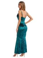 Maiden Green Solid Color Slender Strap Maxi Dress Romance