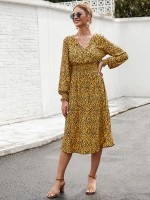 Exquisite Yellow Leopard Midi Dress V Neck High Waist For Women