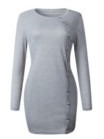 Appealing Gray Button Plain Mini Dress Full Sleeve Fashion Style