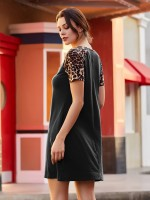 Particularly Black Crew Neck Mini Dress Patchwork Going Out Outfits