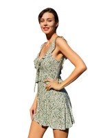Formal Light Green Mini Dress Open Back Flower Paint Lady Dress