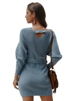 Fabulous Light Blue Hollow Out Wrap V Neck Tie Mini Dress Ladies Grace