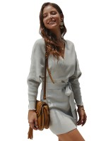Contouring Sensation Gray Knit V Neck Full Sleeves Mini Dress Sheath