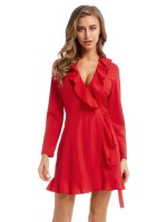 Plain Red Waist Tie Mini Dress Cross V Neck For Vacation