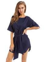 Noticeable Purplish Blue Mini Dress Crewneck Tie Curved Hem