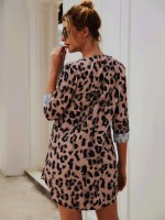 Elegant Yellow Leopard Paint V Neck Mini Dress Tailored Quality