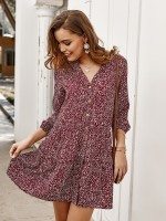 Stretchable Wine Red Spot Pattern Stand-Up Collar Mini Dress Holiday