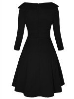 Adorable Black Swing Hem Zip Plus Size Skater Dress High Elasticity