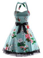 Dreamy Flower Swing Hem Plus Size Skater Dress Romance