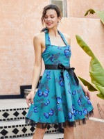 Fashionable Halter Neck Skater Dress Open Back Fashion Ideas