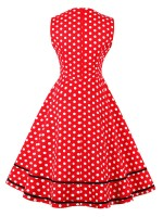 Bodycon Fit Red Plus Size Skater Dress Polka Dot Leisure Wear