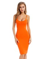 Eye-Appealing Orange Strap Sweater Dress Solid Color Home Dress