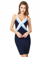 Figure-Hugging Blue V Neck Open Back Zip Contrast Color Bandage Dress