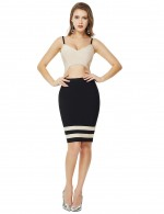 Apricot Cropped Color Matching Zip V Neck Bandage Dress Lightweight