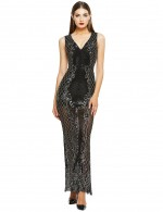 Black Deep V Neck Sequin Embroidered Bandage Dress Preventing Sweat