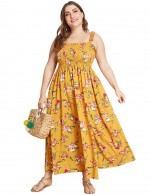 Yellow Smocking Floral Frill A-Line Maxi Dress Big Size Female