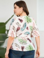 Beach Time White Leaf Pattern Deep-V Neck Plus Size Top Regular Fit