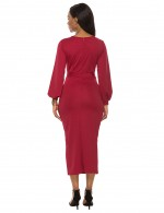 Sheerly Wine Red Plunging Neck Dress Puff Sleeve Woman