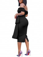 Shimmer Black Off Shoulder Zip Back Bodycon Dress Slit Girls Fashion