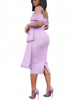 Bewitching Off Shoulder Light Purple Zip Empire Waist Bodycon Dress