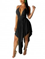 Black Criss Cross Deep V Neck Sling Midi Dress Female Charm