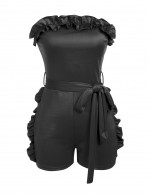 Supper Fashion Black Ruffles Short Length Tight Jumpsuit