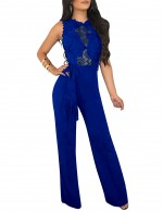 Captivating Sapphire Blue Jumpsuits Sleeveless Cut Out Waistband Casual Fashion