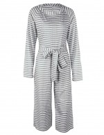 Comfort Grey Striped Knotted Nine Jumpsuit With Pockets For Upscale