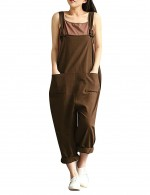 Seductive Brown Tied Strap Jumpsuit Pockets Large Size Dress For Women