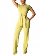 Exotic Yellow Pure Color Two Pieces Outfits Front Knot Versatile Item