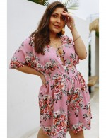Dramatic Pink Blouson Big Size Shorts Sleeves Jumpsuit Tailored Quality