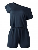 Ravishing Navy Blue Solid Color Short Rompers One Shoulder Elasticity