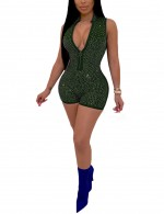 Absorbing Deep V Neck Dark Green Mini Bottom Club Jumpsuit Womens