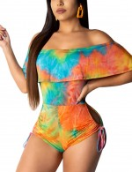 Effective Orange Off Shoulder Drawstring Knot Romper Tie-Dye Comfort