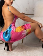 Plunging Neck Backless Sling Romper Tie-Dye Online Shopping