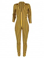 Dramatic Yellow Stripes High Rise Zip At Back Jumpsuit Comfort Fit