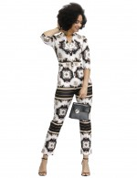 Flowing Black Square Towel Printed 3/4 Sleeves Rompers Online