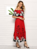 Showy Print Off Shoulder Shirred Midi Dress Big Size For Beauty