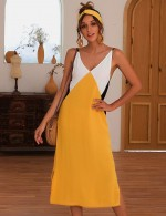 Showy Slit Open Back Yellow Color Matching Midi Dress For Work