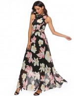 Explicitly Chosen Chiffon Tie Sleeveless Print Maxi Dress For Work