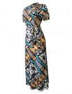 Bewitching High Neck Large Size Knot Print Maxi Dress Outfits