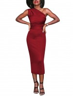 Effective Red Defined Waist Evening Dress Asymmetry Sale Online