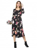 Sensual Curves Round Collar Black Flared Dress Floral Print Romance Time