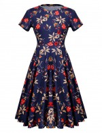 Romantic Pleat Zip Flower Round Neck Dress A-Line Smooth