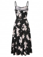 Affordable Flower Pattern Sling Open Back Skater Dress Ultra Sexy