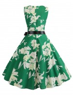 Particularly Back Zip Waist Knot Crew Neck Skater Dress Print Online