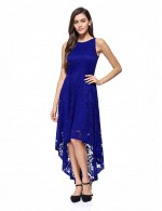 Blue Swallowtail Hem Crew Neck Lace Evening Dress Ultimate Comfort