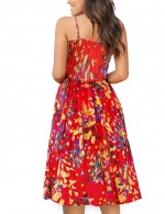 Diva Open Back Flower Wrap Empire Waist Skater Dress Comfort Fashion