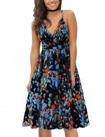 Classic Empire Waist Print V Neck Skater Dress Sling Ultra Hot